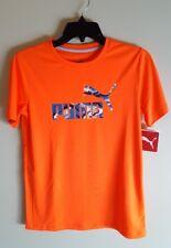 NEW Puma Boys 14-16 / 18-20 Short Sleeve Puma Tee ORANGE BLUE Polyester #270817
