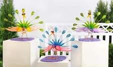"""13.7"""" Metal Zany Bird Peacock Garden Figurine - Choice of Color"""