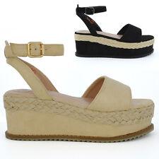 Womens Ankle Strap Wedge Heel Sandals Espadrilles Ladies Peep Toe Flaform Shoes