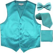 New men's vest waistcoat + bow tie + neck tie + hankie horizontal turquoise blue