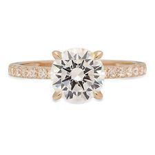 1.64 Round Cut Moissanite Classic Bridal Statement Designer Ring 14k Yellow Gold
