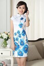 Joli Mini Robe Chinoise Qi-Pao Blanc/Bleu en Coton Tissé ImpriméTailles au choix