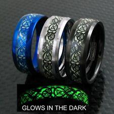 8mm Tungsten Men's Ring Celtic Dragon *Glow* Band Blue Silver Black