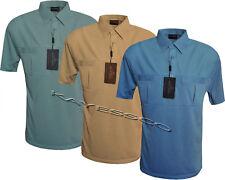 Mens Short Sleeve Double Pockets Golf Polo Shirt T-Shirt Top Casual By Tom Hagan