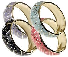 SMALTO Herringbone Basketweave Design geometrico a Cerniera Braccialetto Bracciale Polsino OVALE