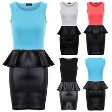 Ladies Sleeveless Contrast Wetlook Peplum Pencil Skirt Women's Dress