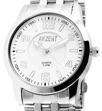 Akzent Herren Armbanduhr Weiß/Silber Metall Gliederarmband 3ATM SS8822000017