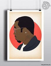 SEAN COMBS - Minimalist Hip Hop Heads Hair Poster Minimal Posteritty Art P Diddy