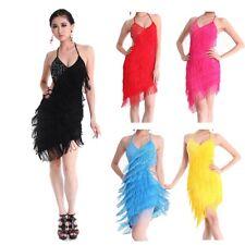 LATIN DANCE DRESS RHYTHM SALSA BALLROOM COMPETITION TASSEL SKIRT SIZE S M L XL