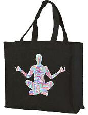 Yoga Word Cloud Cotton Shopping Bag - Choice of Colours. Zen, Meditation