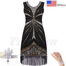 Flapper 1920s Dress Vintage Great Gatsby Charleston Sequins Fringe Party Dresses