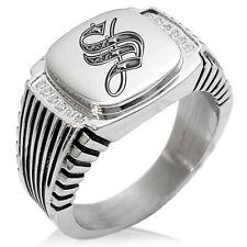Stainless Steel Royal Monogram Letter S Striped CZ Biker Style Signet Ring