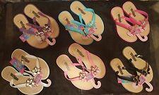 GIRLS CHILDRENS SUMMER BEACH FLAT SANDALS/ FLIP FLOPS 6 COLOURS SIZES 10 TO 4