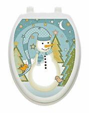 Toilet Tattoos Folk Snowman Vinyl Removable Christmas  Lid Decor