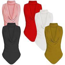 New Womens Plain Choker Cowl Neck Slinky Shiny Leotard Bodysuit T Shirt Top