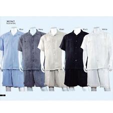 New Men's 2pc Walking Suit Short Sleeve Casual Shirt & Pants Set M~5XL Style2967