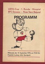 Orig.PRG   UEFA Cup 78/78   BFC DYNAMO BERLIN - RED STAR BELGRAD  !!  RARE