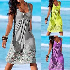 Plus Size Casual Women Summer Sleeveless Evening Party Beach Dress Short Dress