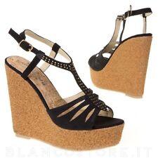 scarpe aperte SANDALI zeppa zatteroni SUGHERO plateau alto strass cinturino