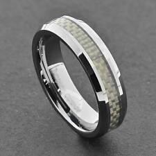 Tungsten Band Men's White Carbon Fiber Inlay Comfort Fit Wedding Ring