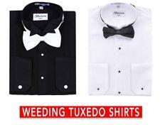 Men's Tuxedo Laydown Or Wing Tip Collar W/ Bow-tie Dress Shirt By Berlioni