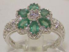 Solido 9ct oro bianco con Smeraldo e Diamante Vintage Art Nouveau Fiore Anello