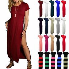 Womens Ladies Short Sleeve High Waist Split Double Side Slit Long Maxi Dress Top