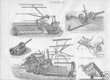 MÄHMASCHINEN Mähbalken Balkenmäher Holzstich von 1905