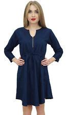 Bimba Women's Classic Collar Neck Denim Casual Dark Blue 3/4 Sleeve Dress