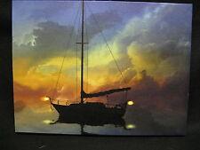 Sail Boat Lighted Canvas Wall Decor Sign Sea