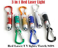 3 in 1 Red Laser Light Beam Pointer Key Ring Keychain UV LED Light Torch Cat Toy