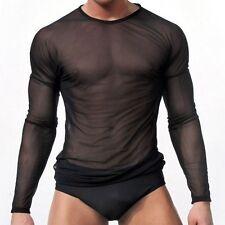 New Men Sexy Mesh Sheer T-shirts Transparent Black Fishnet Tees Tops Long Sleeve