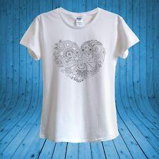 B&W Heart Floral Black & White T-shirt 100% cotton unisex women