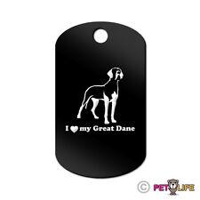 I Love My Great Dane Engraved Keychain Gi Tag dog German Mastiff v2