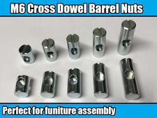 M6 Centre Thread Furniture Cross Dowel Barrel Nuts Fixing Cot Bed Desk Unit Join