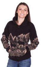 Woodlands Wolf Bear Moose Ladies Looped Wool / Fleece Cinchback Jacket Made USA