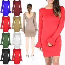 Womens Peplum Frill Sleeve Bodycon Ladies Scoop Neck Low Back Slim Mini Dress