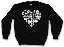 CONTROLLER HEART SWEATSHIRT  Gamer PC Nerd VG NES Joystick Joypad Sweat Pullover