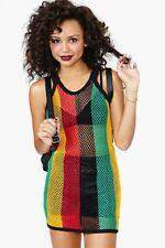 Womens Rasta Stripe Cotton Crochet vest Mesh Fishnet Top Reggae See through net