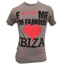 David Guetta Men's T-shirt F*** Me I'm Famous Love Ibiza Vintage Logo BROWN