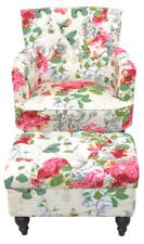 8242 Polstersessel mit Polsterhocker Sessel Relaxsessel Hocker Fußhocker Blumen