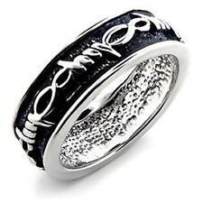 Plating Sz 8-9 Unisex Tribal Design Black Ring Rhodium