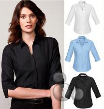Ladies 3/4 Sleeve Shirt Size 6 8 10 12 14 16 18 20 22 24 Stripe Business New