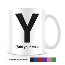 Helvetica lettera Y Tazza da caffè-può essere personalizzata-aggiungi il tuo nome - 6 COLORI