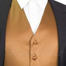 Men's Tan Gold Solid Vest Waistcoat Suit or Tuxedo Wedding Party Prom