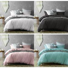 Monique Frayed Edge Linen Cotton Quilt Cover Set by Accessorize - ALL SIZES
