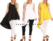 Plus Hi Lo Cascade Side Ruffle Peplum Dress Top Blouse Sleeveless