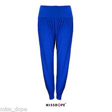NEW Blue Cuffed Bottom High Waist Pants Jogging Womens Ladies UK Size 8 10 12 UK