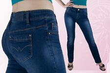 Damen Jeans Jeanshose Gerades Bein Normalsitzend Blau 36 38 40 42 44