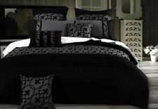 Lyde Charcoal Grey Duvet cover Set / Black flocking design Quilt cover Set